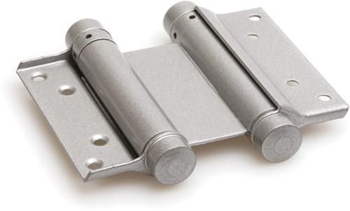 Dubbelwerkend bommerscharnier deurdikte 30-35 mm - Zilvergrijs gelakt