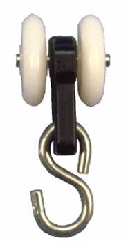 250050: enkele hangrol met S-haak - serie 0 RVS tot 200 kg
