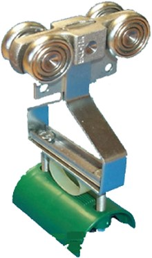 351021: dubbele kabelrol met nylon kabelgeleider - serie 0 tot 200 kg
