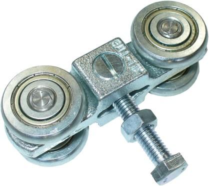 351030: dubbele hangrol met draadeind en moer - serie 0 tot 200 kg