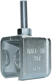 430287/25MM: raildrager met eindstop en draadeind M12 25 mm - plafondmontage - serie 1 tot 600 kg
