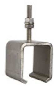 451286/90mm: RVS raildrager met draadeind M8 90 mm - plafondmontage - serie 1 RVS tot 600 kg