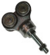 461004: dubbele hangrol low noise met draadeind M12 80 mm - geschikt voor vouwdeuren - serie 1 tot 600 kg