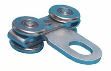 570099: dubbele hangrol met oog voor kraan - serie 2 tot 1000 kg
