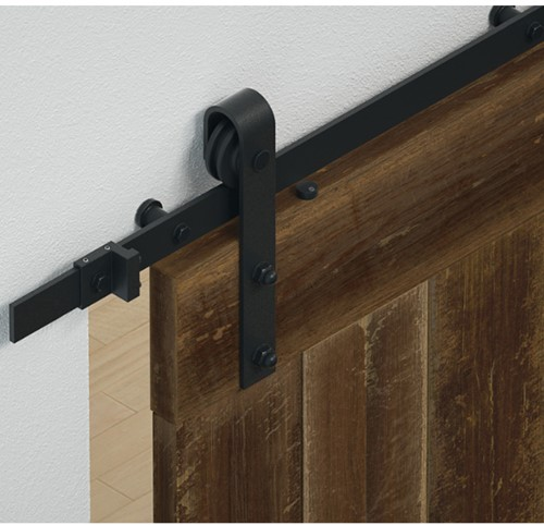 Barndoor schuifdeurbeslag staal mat zwart - raillengte 2 m