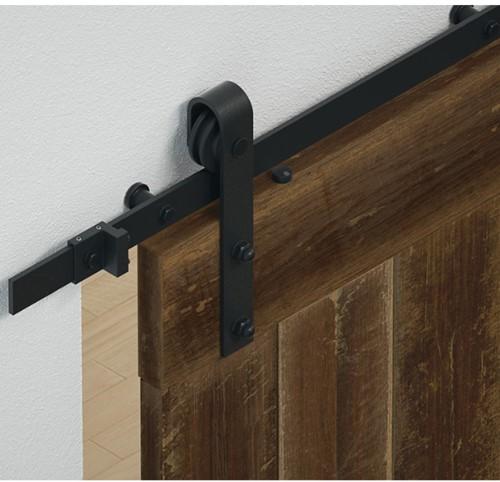 Barndoor schuifdeurbeslag staal mat zwart - raillengte 2.5 m