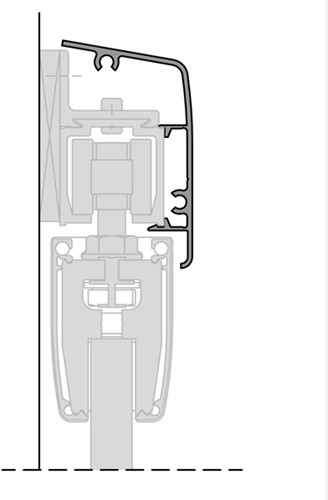ROB afdekprofiel wand 80 kg rail - glazen deur