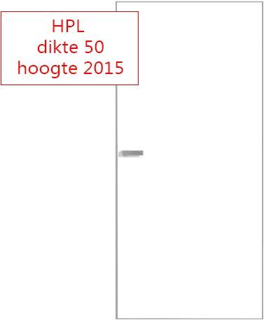 Scharnierende deur 50 mm HPL RAL9016 - 2015 mm hoog