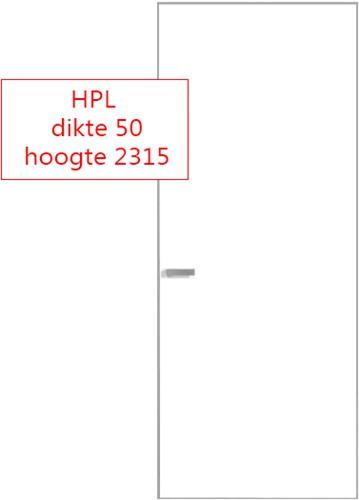 Scharnierende deur 50 mm HPL RAL9016 - 2315 mm hoog