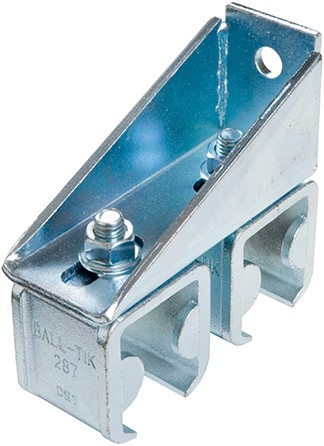 431300: dubbele raildrager met eindstop - verstelbaar -  wandmontage - serie 1 tot 600 kg