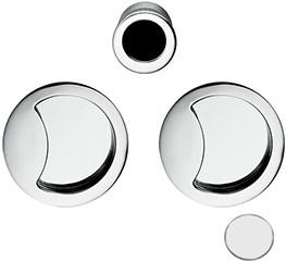 Schuifdeurgreep Open Flush - mat wit / rond
