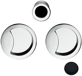 Schuifdeurgreep  Open Flush - mat zwart / rond