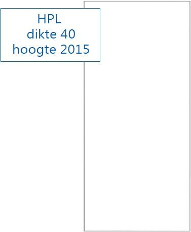 Schuifdeur HPL RAL9016 - 2015 mm hoog