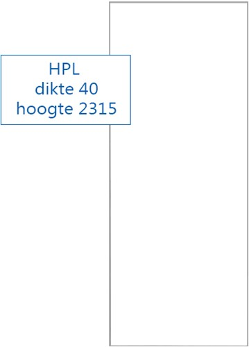 Schuifdeur HPL RAL9016 - 2315 mm hoog