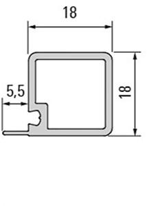 Smartcube profiel zwart met rib voor plaat - 1500 mm